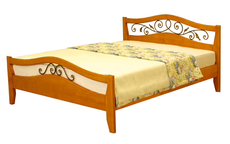 деревянная кровать Алиса с ковкой