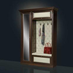 прихожая кожаная Благо 5.1 с зеркалом орех/бежевая