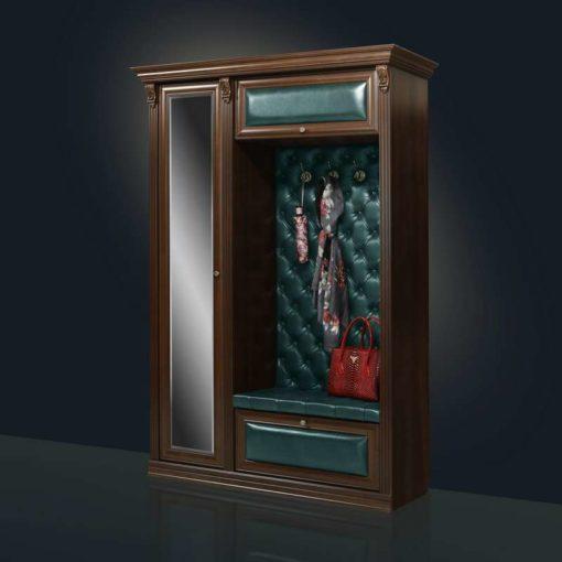 прихожая кожаная Благо 5.1 с зеркалом орех/изумруд