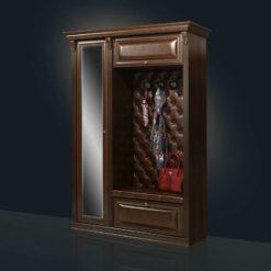 прихожая кожаная Благо 5.1 с зеркалом орех/коричневая