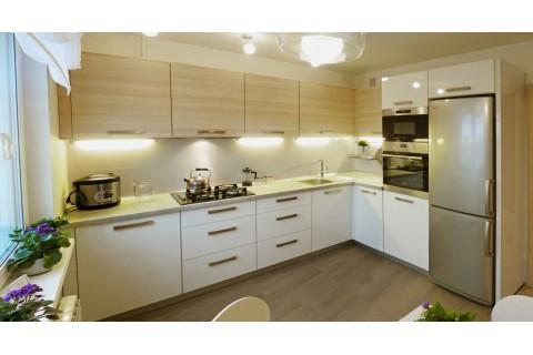 Кухня современная 2 угловая бежевая