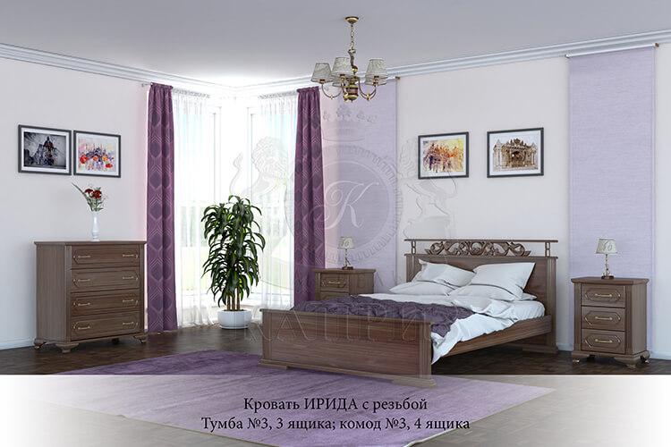 спальня из массива дерева Ирида с резьбой